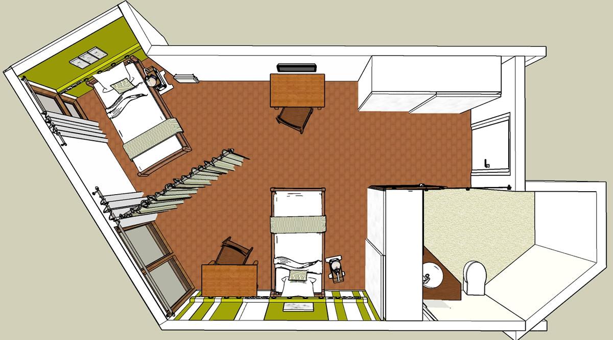 Aménagement EHPAD de Caire Val - projet de chambre double vue de dessus
