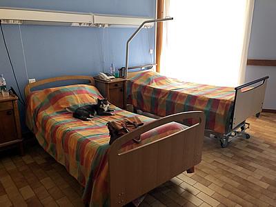 Aménagement EHPAD de Caire Val - chambre avec double lit avant les travaux