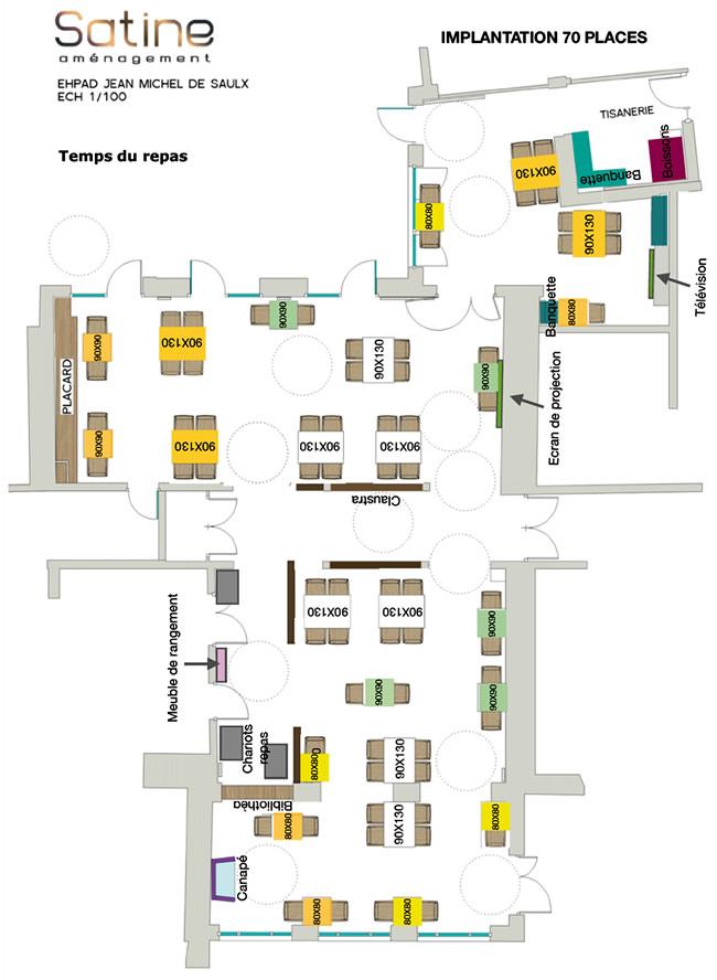 Ephad Saulx - implantation 70 places - temps du repas