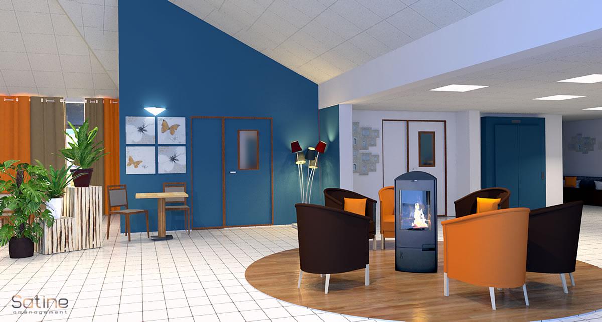 Rénovation EHPAD de Barneville - Hall d'accueil - salon