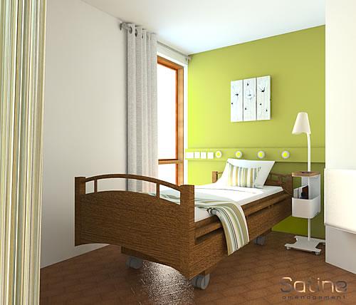 Décoration EHPAD - Caire Val - chambre avec lit double