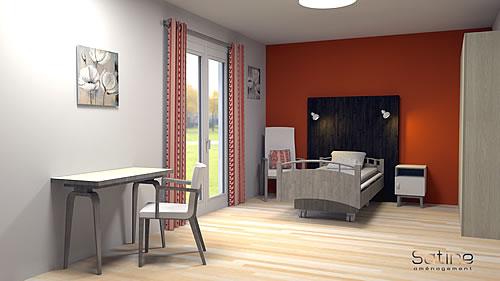 Décoration EHPAD - chambre 3D