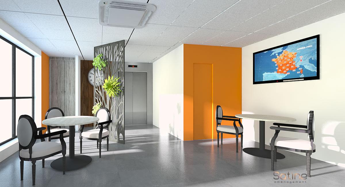 Projet de rénovation EHPAD de l'Union Belge à Courbevoie (92) - salle à manger - face à l'ascenceur