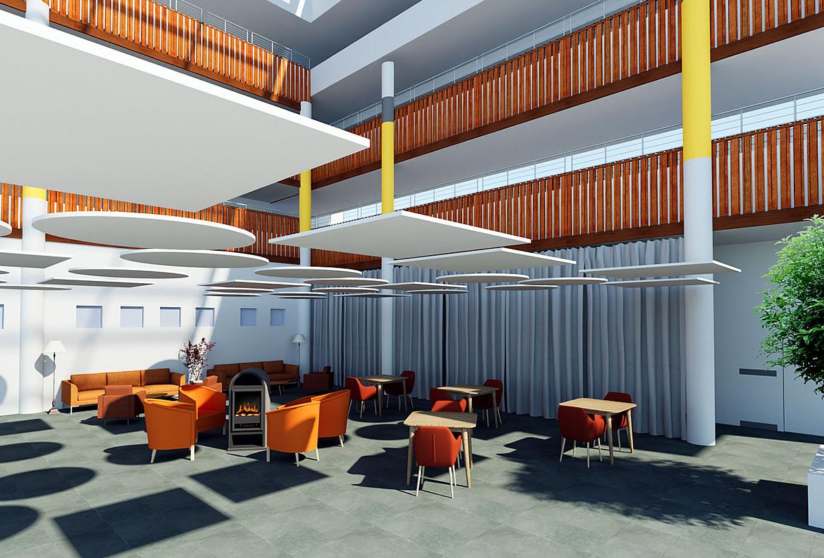 Rénovation Ehpad - accueil et pièce de vie transformés en Atrium